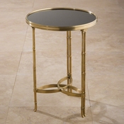 Global Views Double Bamboo Leg Accent Table-Brass & Black Granite