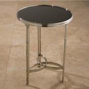Global Views Double Bamboo Leg Accent Table-Nickel & Black Granite