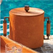 Global Views Double Handle Ice Bucket-Hair on Orange/Bronze finish
