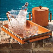 Global Views Double Handle Serving Tray-Hair on Orange/Bronze finish