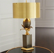 Global Views Egg and Palm Lamp-Brass/Bronze