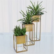 Global Views Escher Pedestal/Planter-Brass-Medium