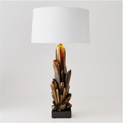 Global Views Facet Cluster Lamp-Bronze w/White Shade