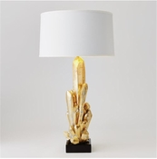 Global Views Facet Cluster Lamp-Gold w/White Shade