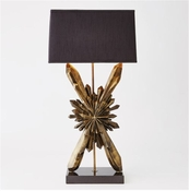 Global Views Facet Starburst Lamp-Bronze w/Black Shade