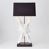 Global Views Facet Starburst Lamp-White w/Black Shade