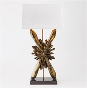 Global Views Facet Sunburst Lamp-Bronze w/White Shade