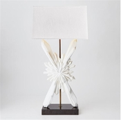 Global Views Facet Sunburst Lamp-White w/White Shade