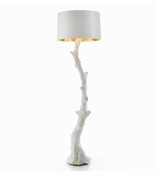 Global Views Faux Bois Floor Lamp-White