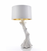 Global Views Faux Bois Lamp-White w/White Shade