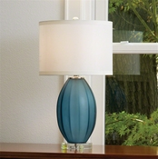 Global Views Fluted Frosted Lamp Blue-Small