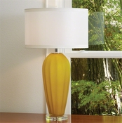 Global Views Fluted Frosted Lamp-Yellow-Large