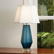 Global Views Fluted Urn Frosted Lamp-Blue