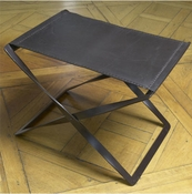 Global Views Folding Stool-Iron & Brown Leather