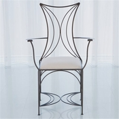 Global Views French Curve Chair with Arms-Natural Iron - Muslin