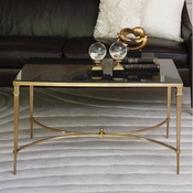 Global Views French Square Leg Cocktail Table-Brass & Black Granite