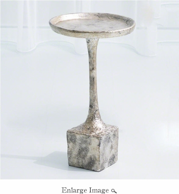 Global Views Kedge Accent Table-Silver Leaf