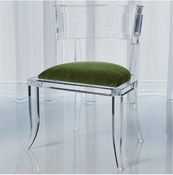 Global Views Klismos Acrylic Chair-Emerald Green