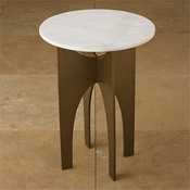 Global Views LAX Table-Bronze & White Marble Top