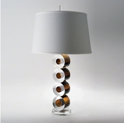 Global Views Leonardo Lamp-Brown with Silk Shade