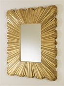 Global Views Linen Fold Mirror-Brass
