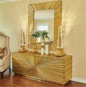 Global Views Linen Fold Mirror-Brass-Large