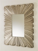 Global Views Linen Fold Mirror-Silver