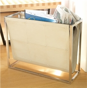 Global Views Magazine Caddy-Beige Leather