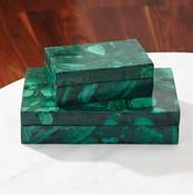 Global Views Malachite Stone Box-Large