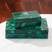 Global Views Malachite Stone Box-Small