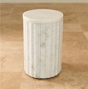 Global Views Marble Column Table-White