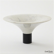 Global Views Marble Flared Bowl-White