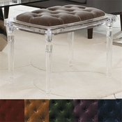 Global Views Marilyn Acrylic 4 Leg Bench-Pewter