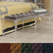 Global Views Marilyn Acrylic 6 Leg Bench-Pewter