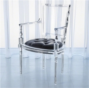 Global Views Marilyn Acrylic Arm Chair-Pewter-Grey