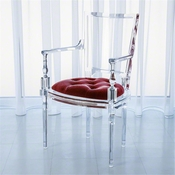 Global Views Marilyn Acrylic Arm Chair-Red Pepper