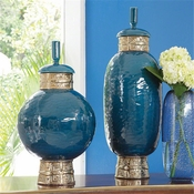 Global Views Maze Jar-Cobalt/Antique Gold-Tall