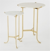 Global Views Mini Plie Table-Polished Brass/White Honed Marble