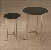 Global Views Mini Plie Table-Polished Nickel/Black Granite
