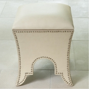 Global Views Moroccan Poof-Beige Leather