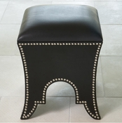 Global Views Moroccan Poof-Black Leather