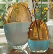 Global Views Oval Vase-Pistachio Amber-Large