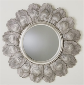 Global Views Peacock Feather Mirror-Antique Silver