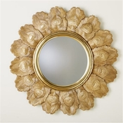 Global Views Peacock Feather Mirror-Brass