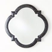 Global Views Quatrefoil Mirror-Black Cerused Oak