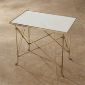 Global Views Rectangular Directoire Table-Brass & White Marble