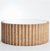 Global Views Reflective Column Cocktail Table-Olive Ash Burl