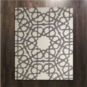 Global Views Rose Window Rug-Grey-6' x 9'