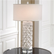 Global Views Round Arabesque Marble Lamp