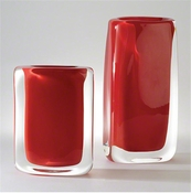 Global Views Round Block Vase-Fire-Large